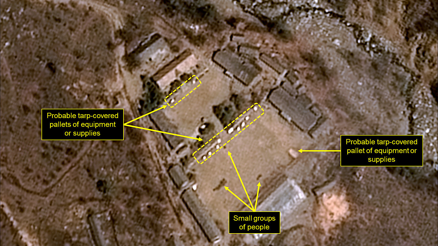 A satellite image obtained by France shows the administrative area of North Korea's nuclear testing site.