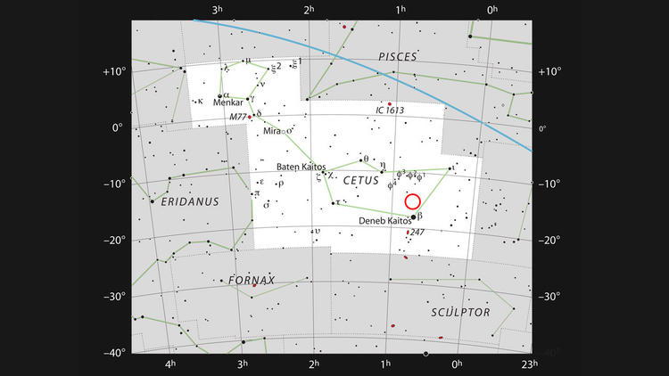 This chart shows the location of the faint red star LHS 1140 in the constellation of Cetus (the Sea