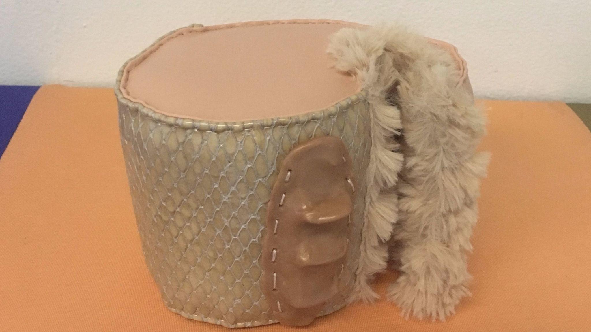 "Liz Nurenberg, ""Untitled Handhold 1,"" 2017, foam, fabric and plastic,"
