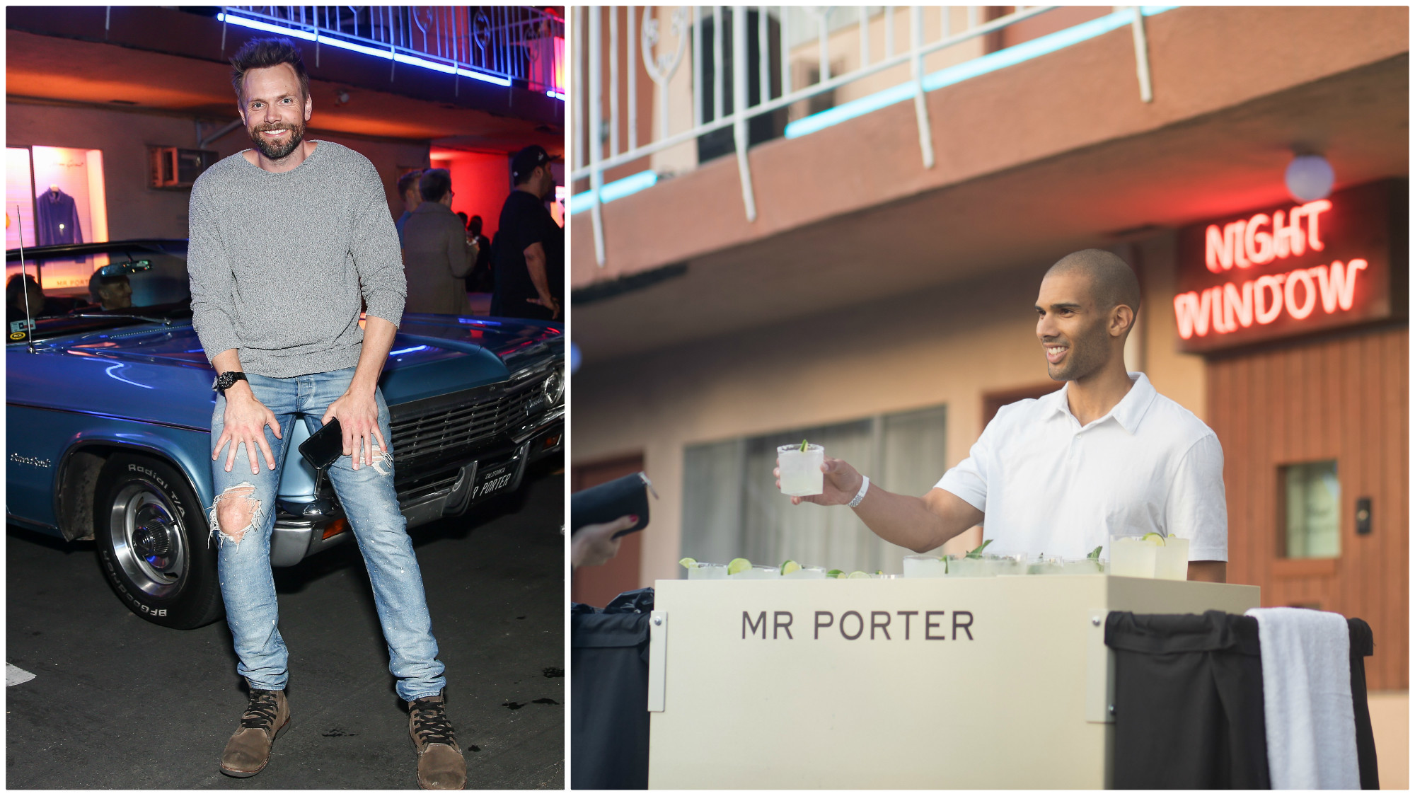 "At left, actor Joel McHale; at right, a bartender serves drinks from a Mr Porter ""housekeeping cart."""