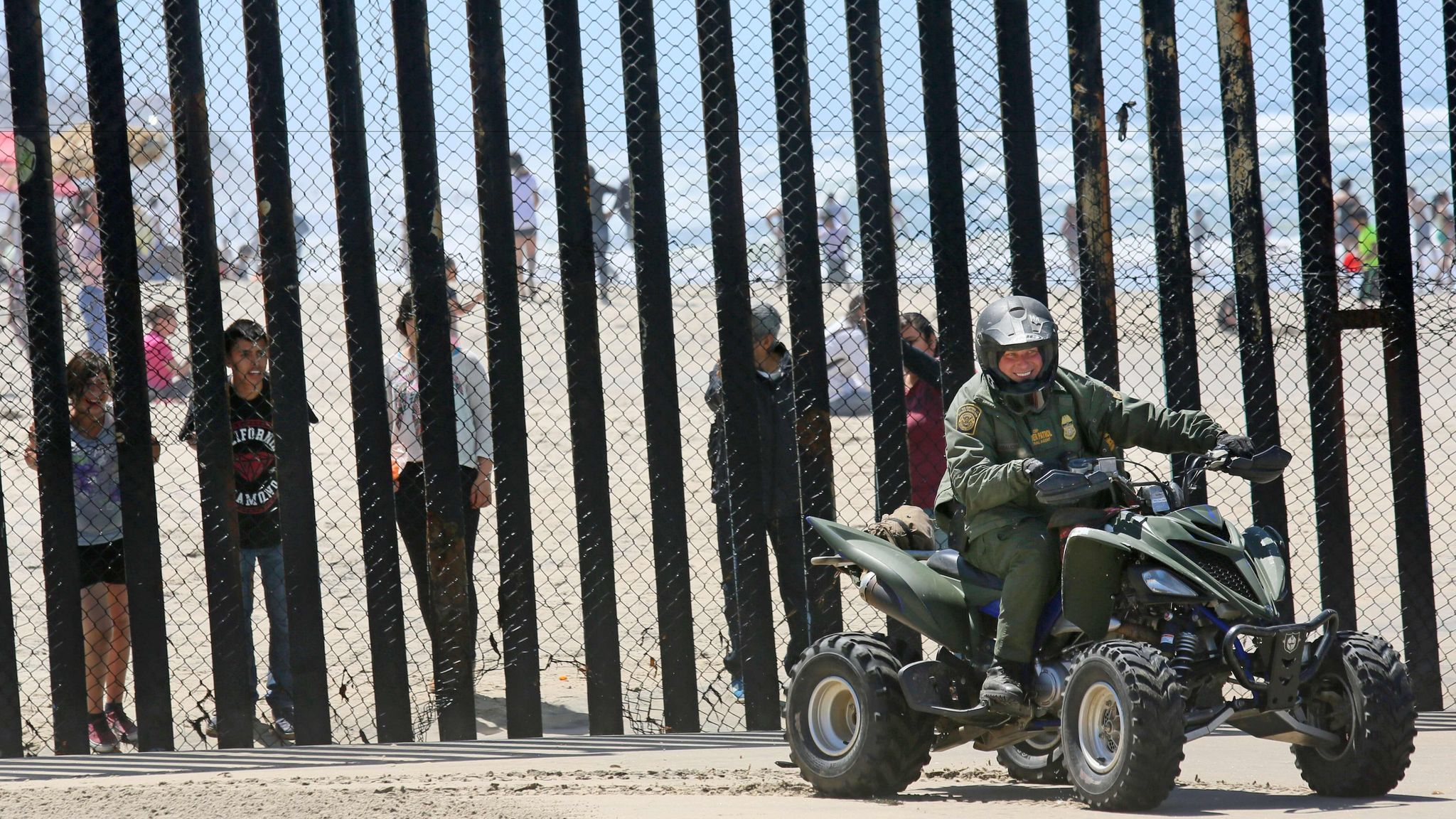 Border Patrol agents patrol the US-Mexico border in San Ysidro, California on April 16, 2017.