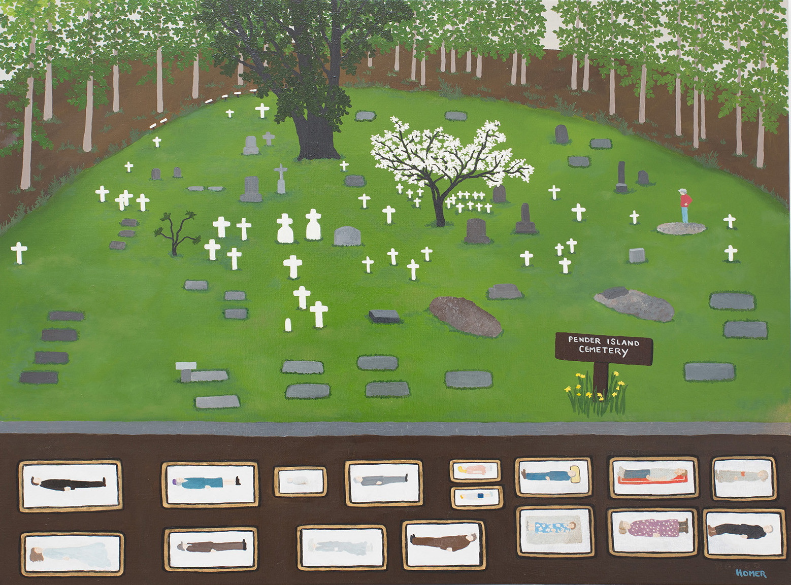 """Jessie Homer French, """"Pender Island Cemetery,"""" 2014, oil on canvas."""