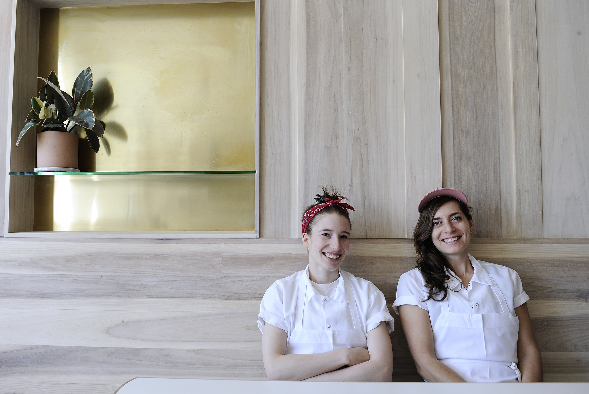 Sarah Hymanson, left, and Sara Kramer are chefs and co-owners of Kismet in Los Feliz. They also run Madcapra in Grand Central Market.