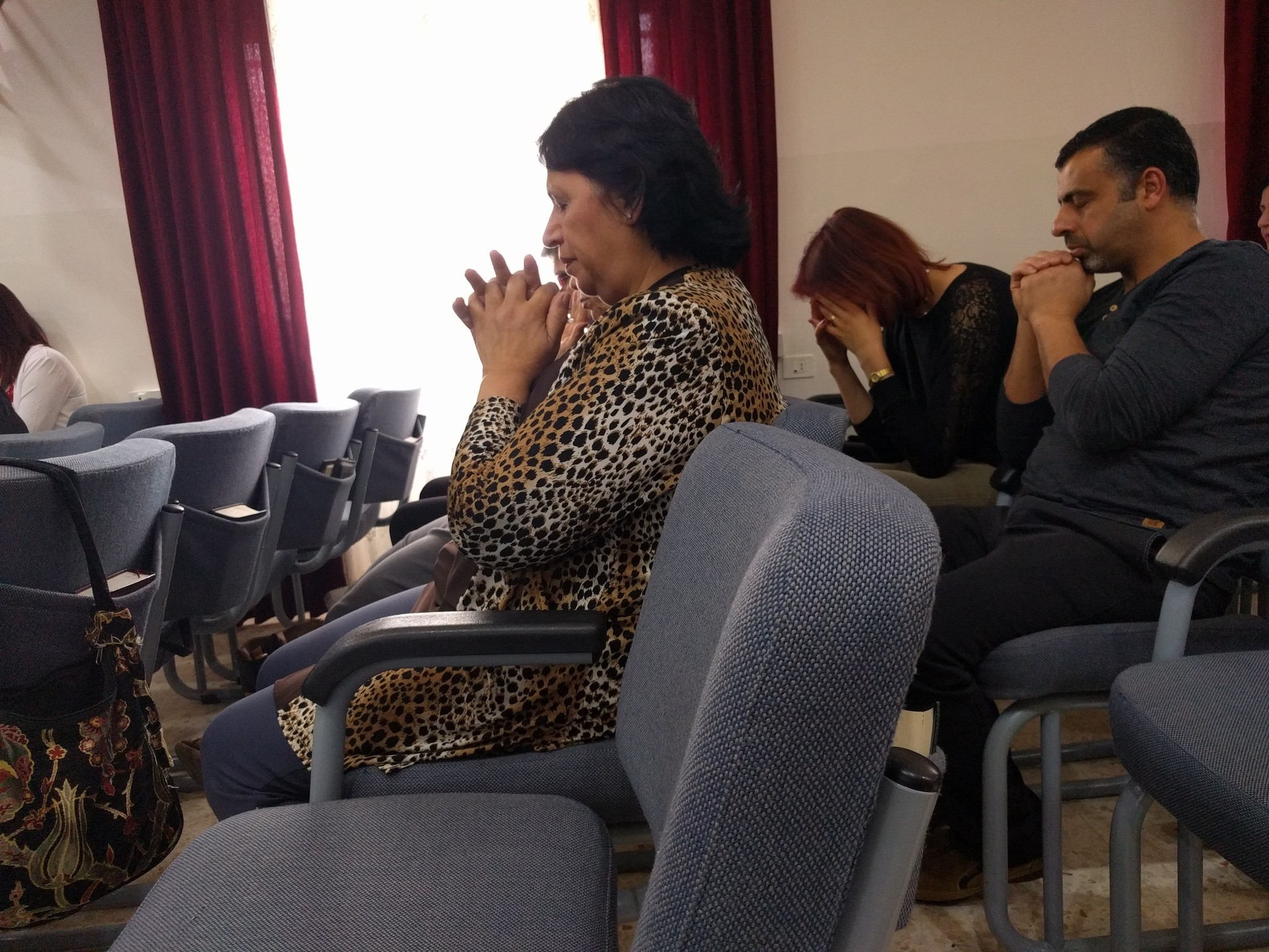 Christian worshippers gather at Immanuel Evangelical Church in Beit Sahour, West Bank.
