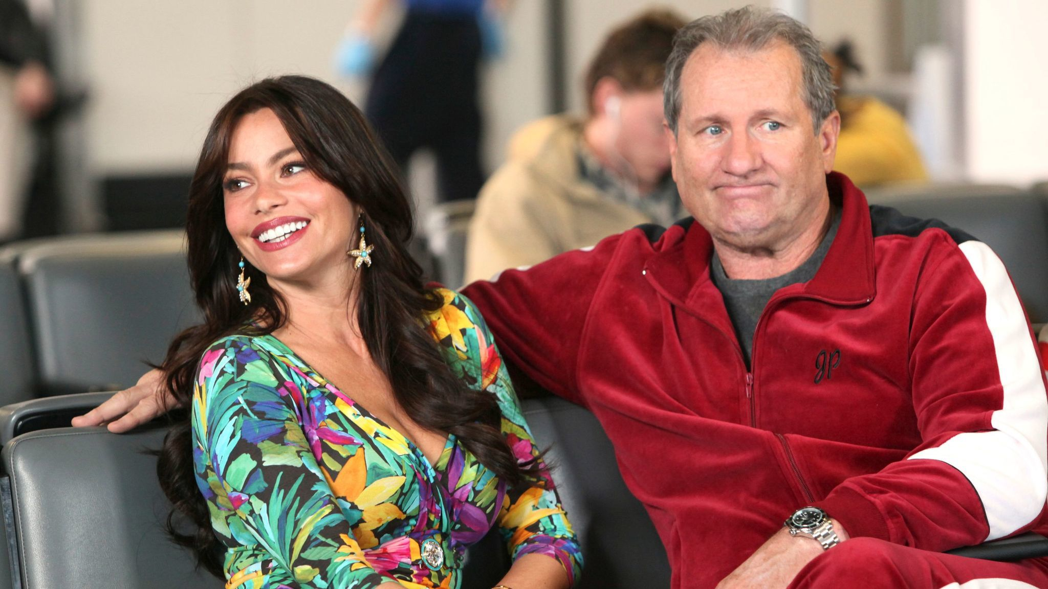 "Sofia Vergara, left, and Ed ONeill on ""Modern Family."""