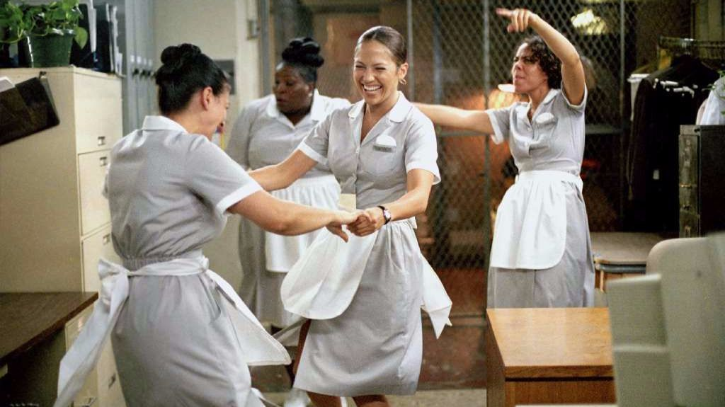 "Jennifer Lopez portrays Marisa Ventura, center, a hotel maid in ""Maid in Manhattan."""