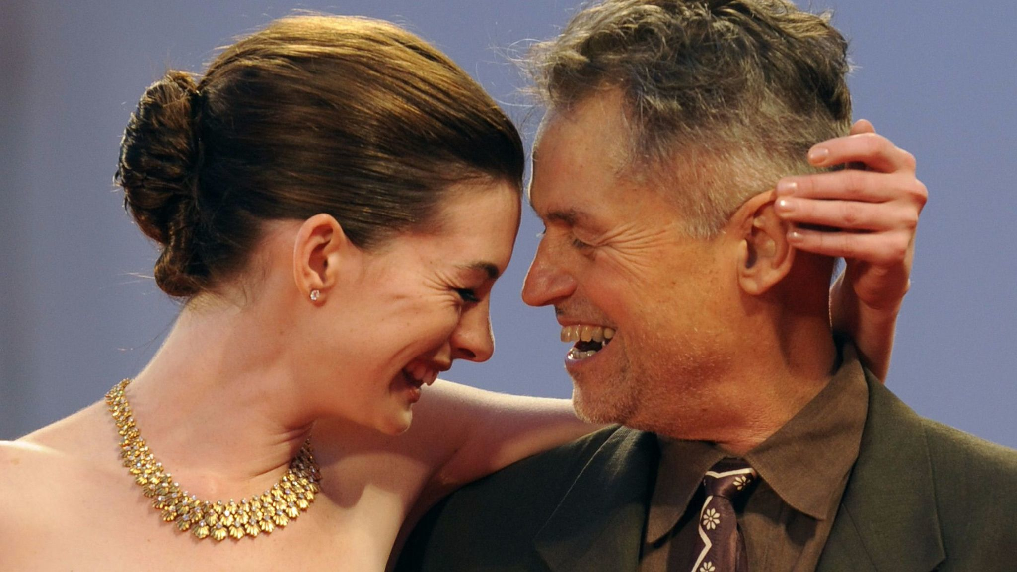"Jonathan Demme, right, with Anne Hathaway before a screening of ""Rachel Getting Married"" at the 2008  Venice International Film Festival."