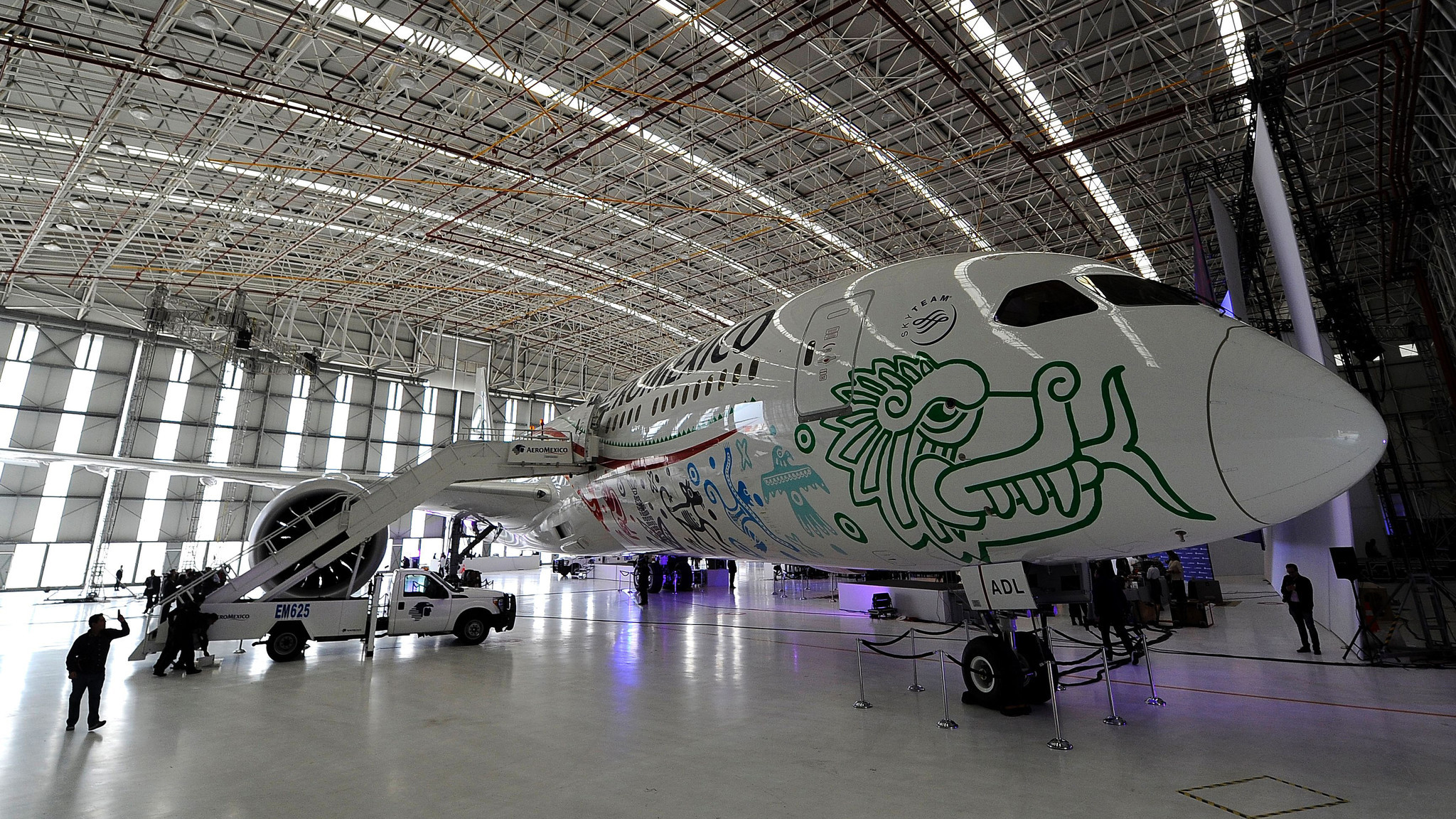 An Aeromexico Boeing 787-9 Dreamliner, called Quetzalcoatl, is unveiled in Mexico City on Oct. 20.  Delta has invested in Aeromexico to help capitalize on the travel demand between Mexico and the United States.