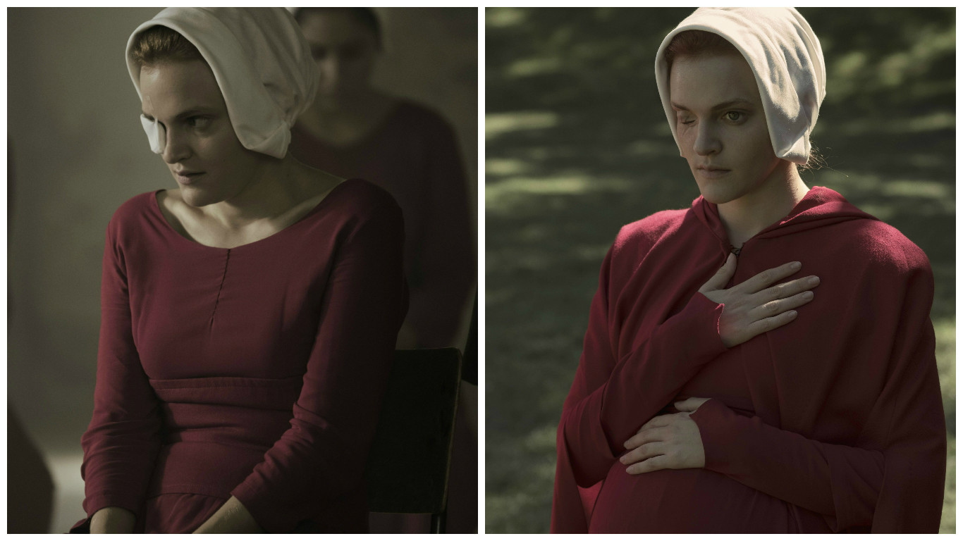 Madeline Brewer's character Janine illustrates the ability of the gowns to double as maternity wear.
