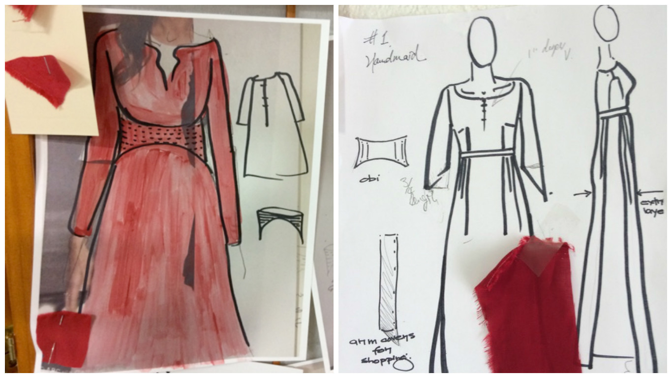Sketches capture the evolution of the handmaid dresses.