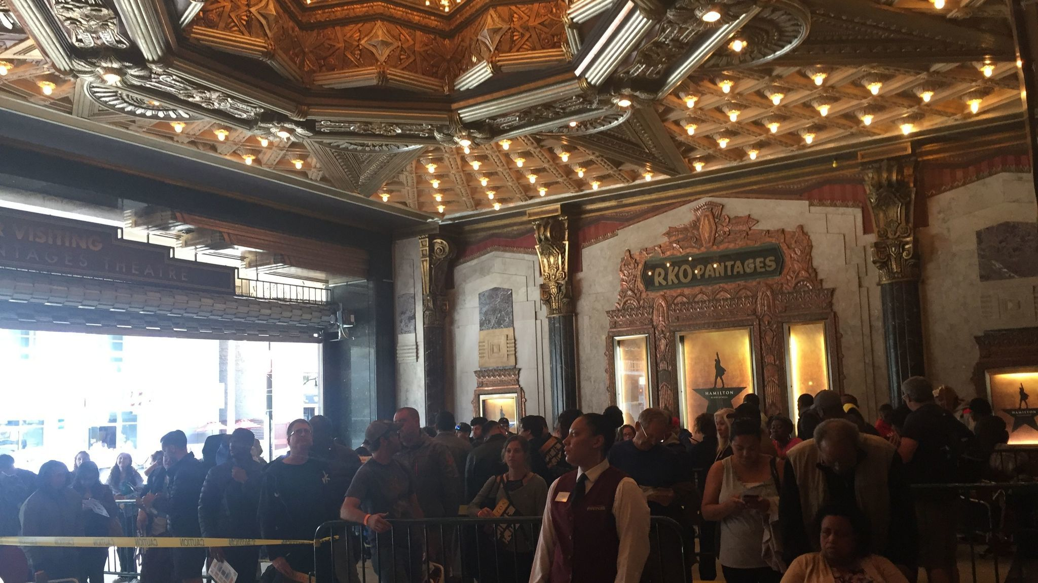 At 6 a.m. Pantages staff began allowing the line into its lobby, where some people spent the time sleeping. At five minutes until 10 a.m., the line was funneled out to the front of the theater where the box office stood ready to open.