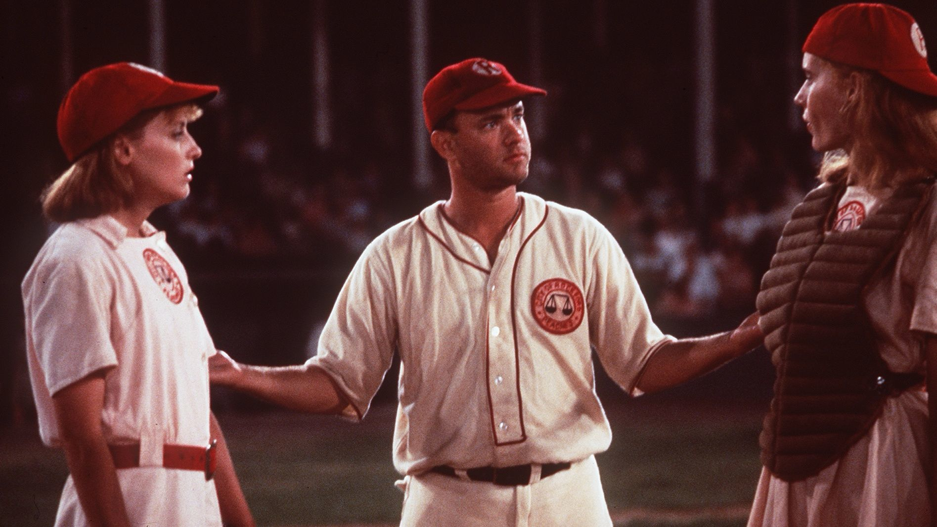 "Lori Petty, left, Tom Hanks and Geena Davis in ""A League of Their Own."""