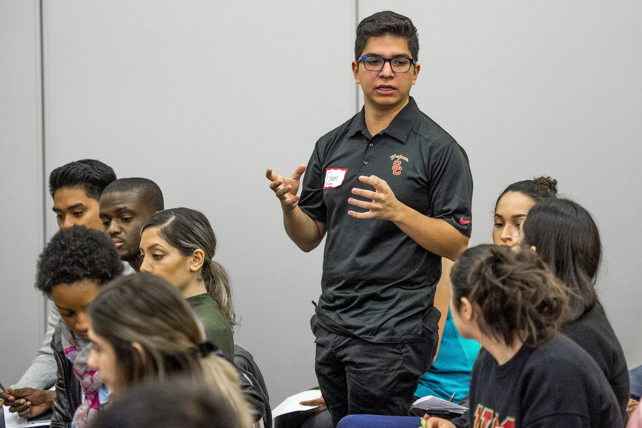 Edwin Saucedo speaks during USC's first generation summit in February.