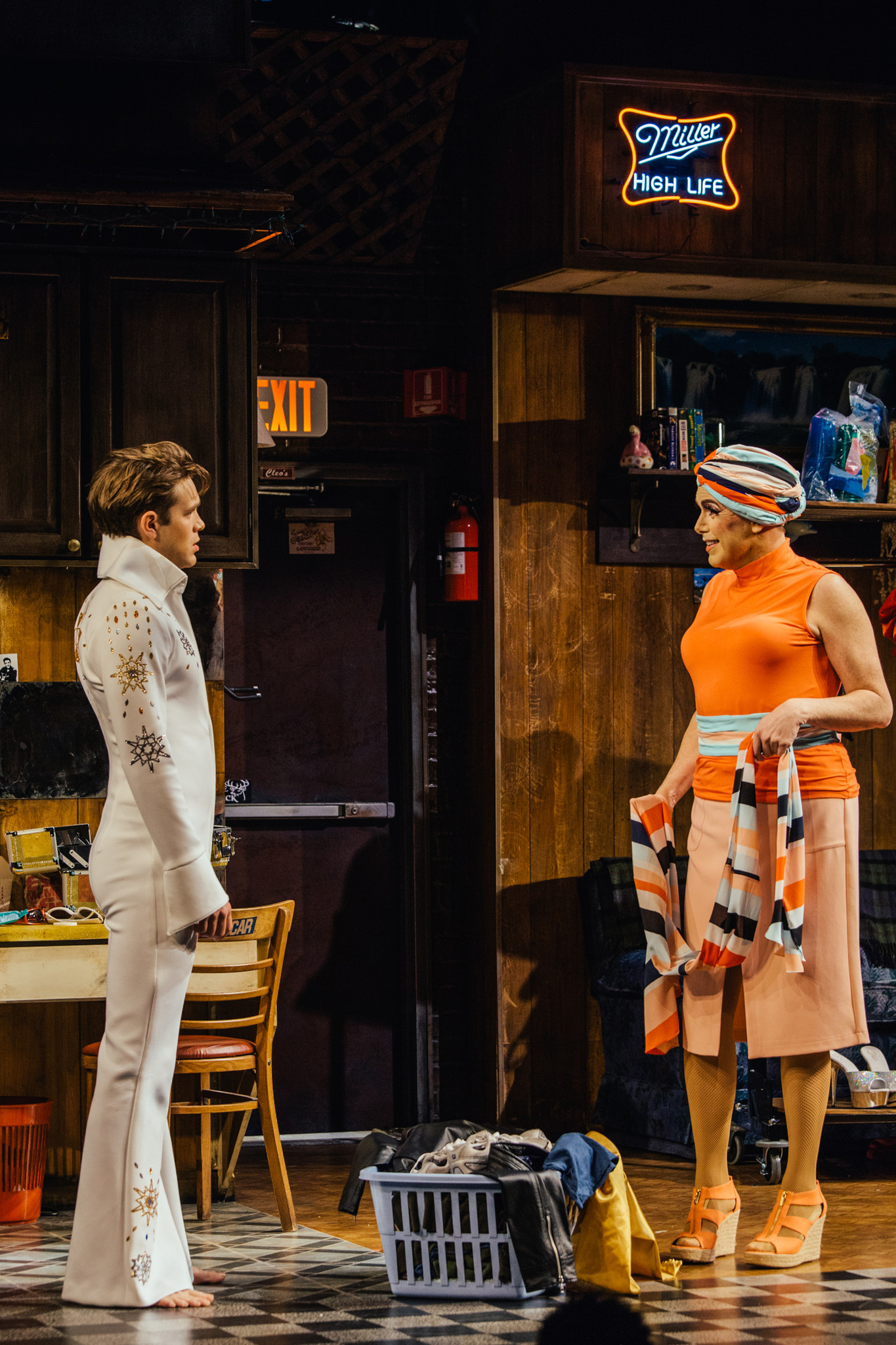 "Andrew Burnap as Casey, left, and Matt McGrath as Miss Tracy Mills in ""The Legend of Georgia McBride"" at the Geffen Playhouse."