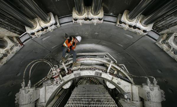 Climb Inside The Massive Tunnel 60 Feet Below Downtown L A Los Angeles Times