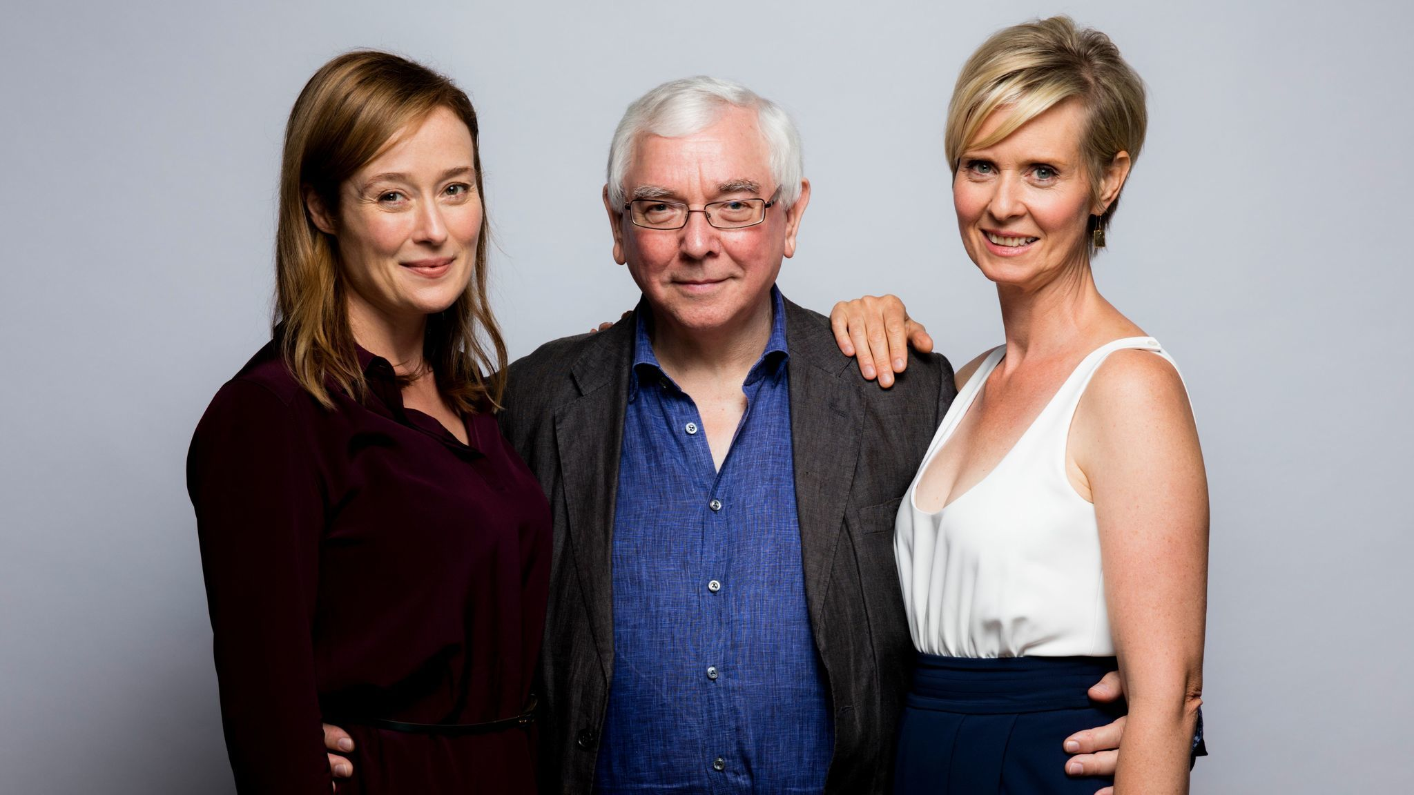 """Actress Cynthia Nixon, right, director Terence Davies, center and actress Jennifer Elhe from the film """"A Quiet Passion,"""" photographed in the L.A. Times photo studio at the Toronto International Film Festival, on Sept. 12, 2016."""