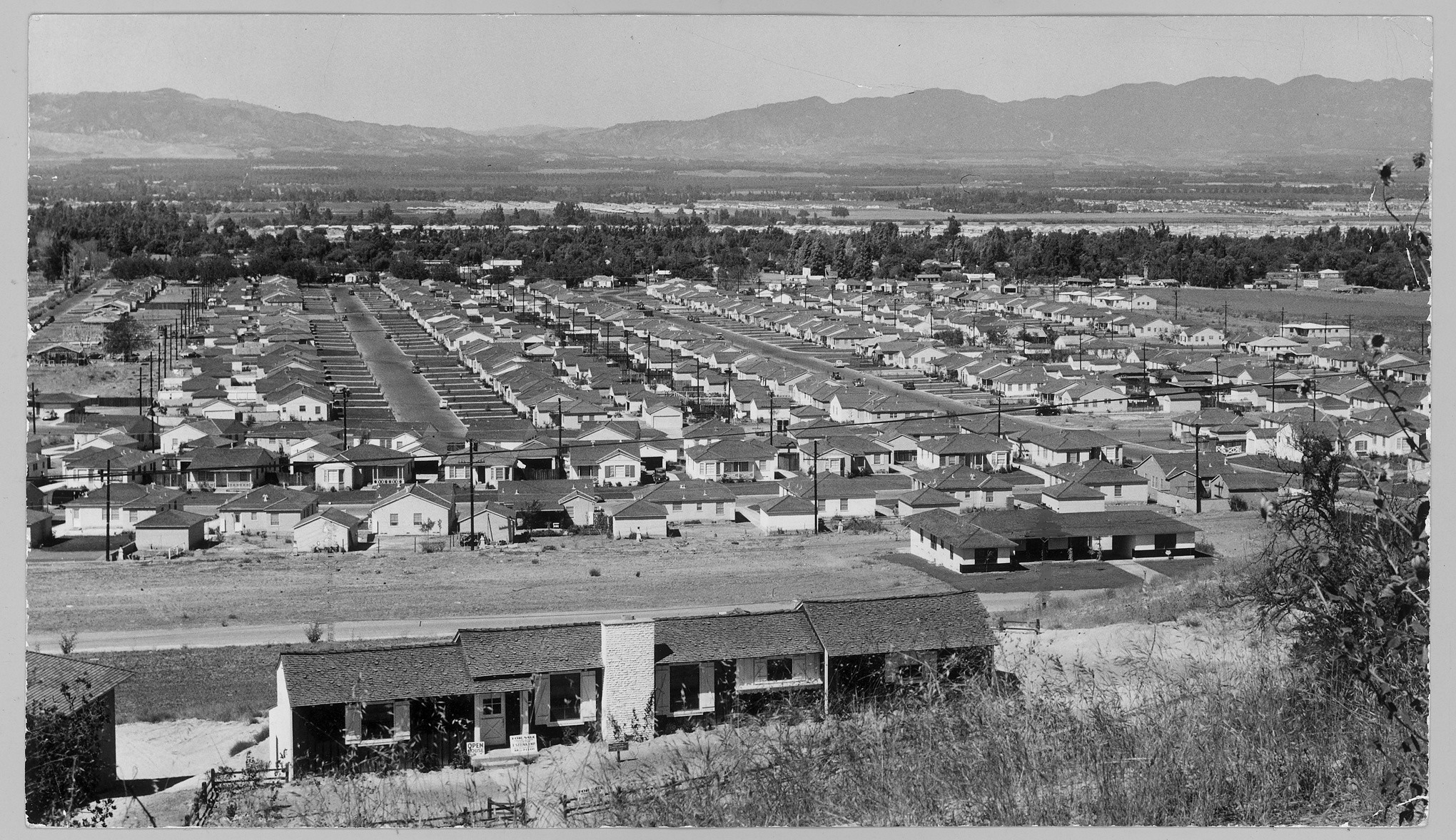 Tract homes line the streets of Encino in 1950.