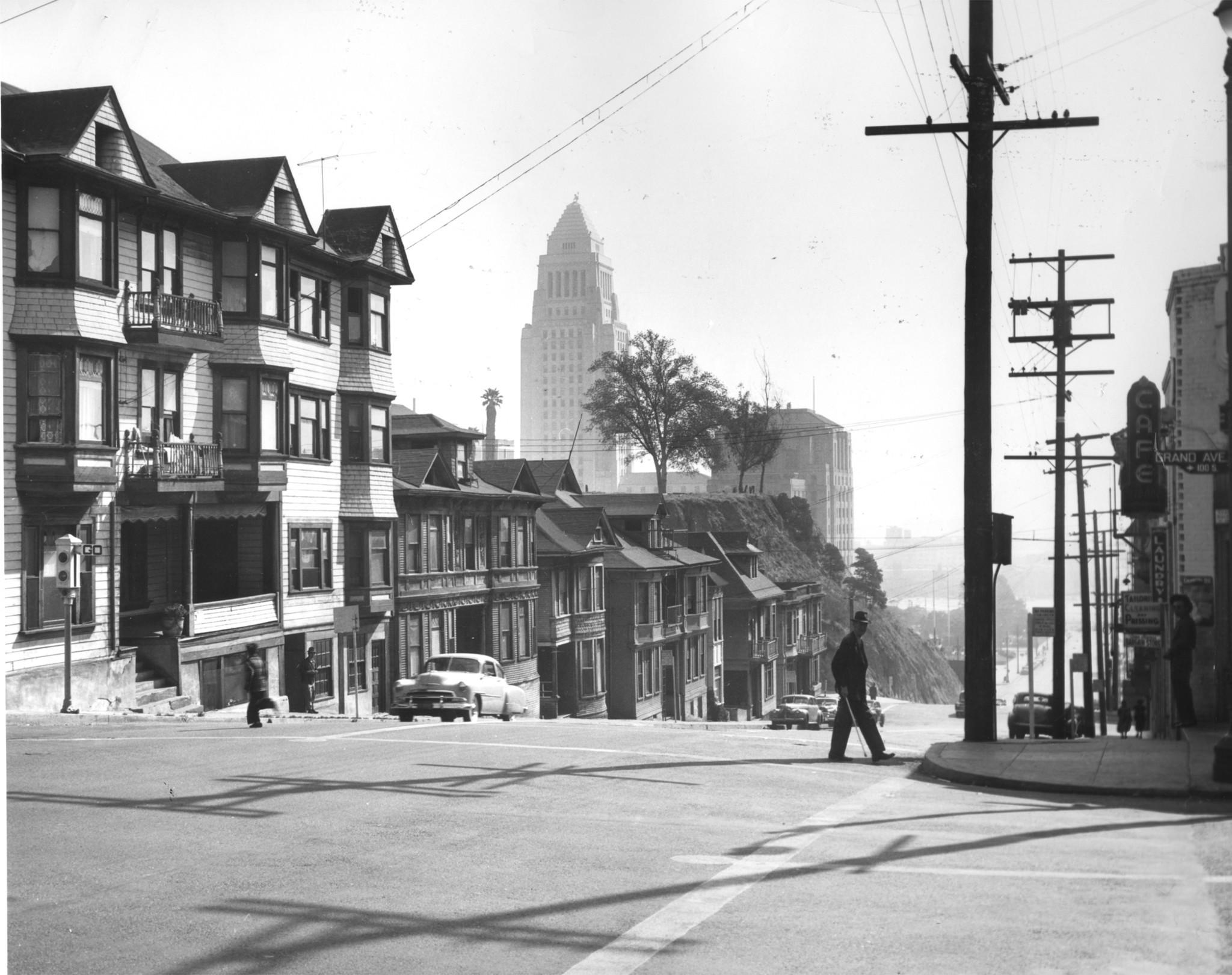 City Hall is seen beyond the Bunker Hill neighborhood in 1960.