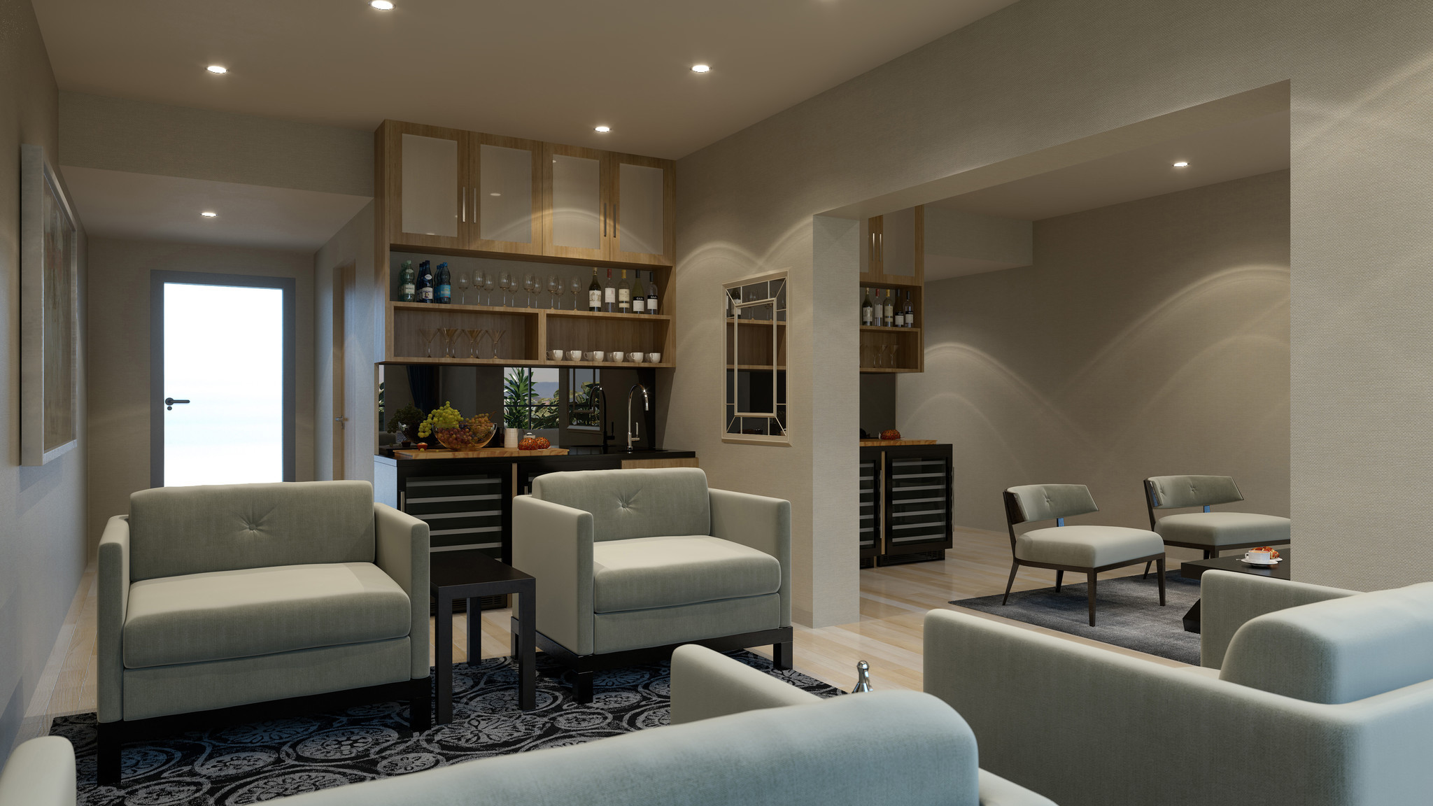 One of 13 private rooms at the new Private Suite at LAX. Amenities include a stocked refrigerator and snacks.
