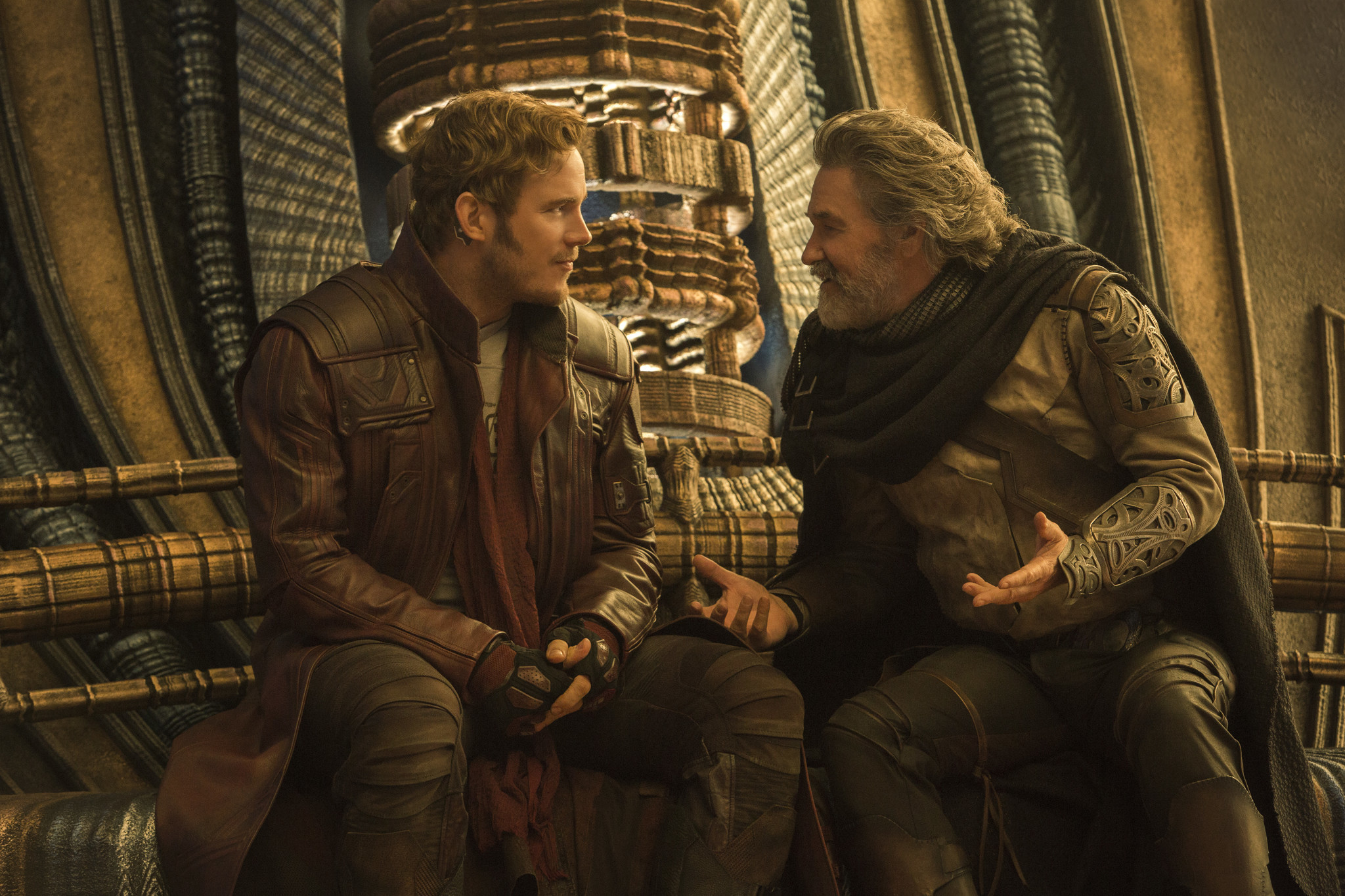 "Chris Pratt as Peter Quill/Star-Lord and Kurt Russell as Ego in ""Guardians of the  Galaxy Vol. 2."""