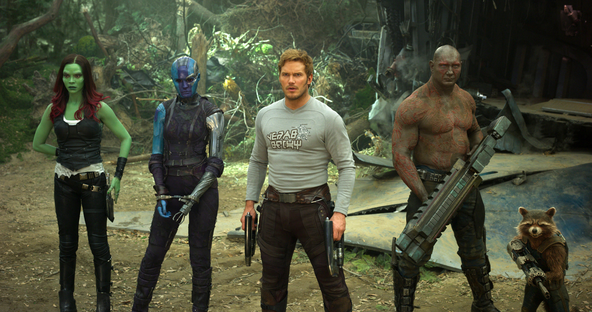 "Gamora (Zoe Saldana), Nebula (Karen Gillan), Star-Lord/Peter Quill  (Chris Pratt), Drax (Dave Bautista) and Rocket (voiced by Bradley Cooper) in ""Guardians of the Galaxy Vol. 2."""