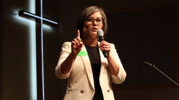 Monica Rodriguez speaks at a candidate forum in February at All Nations Church in Lake View Terrace.