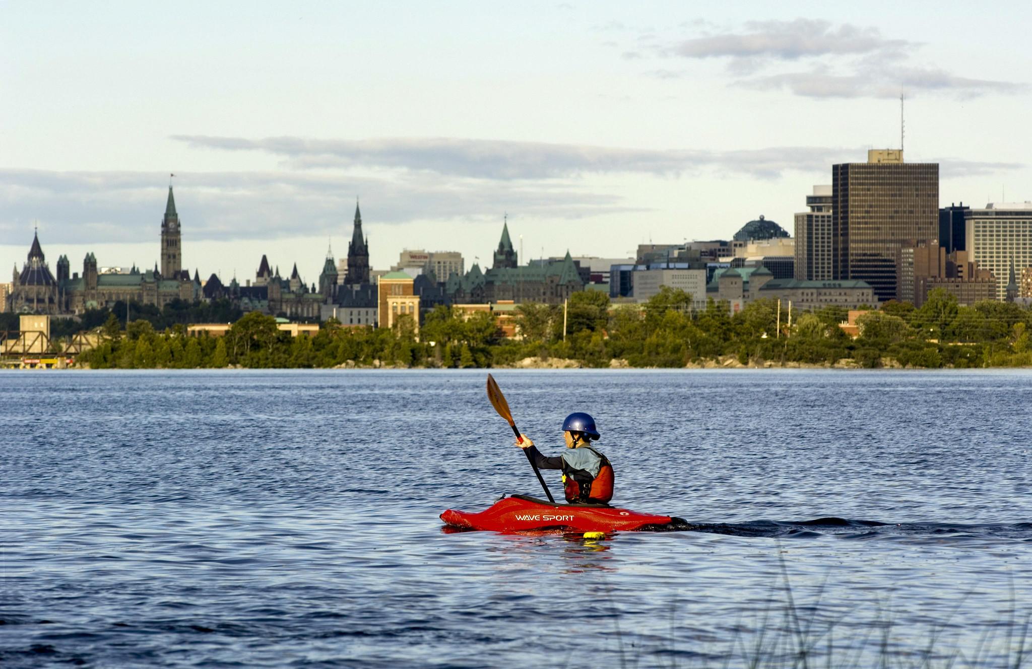 Kayaking on the Ottawa River.