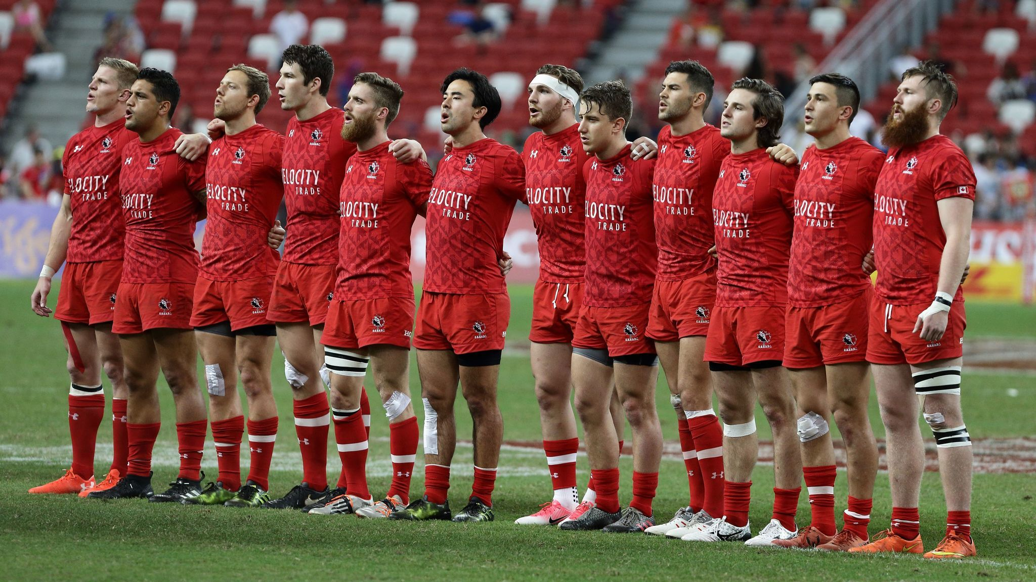 Team Canada sings the national anthem during the Cup Final 2017 Singapore Sevens match between USA and Canada.
