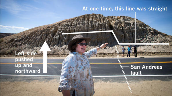 Seismologist Lucy Jones stands on top of the San Andreas fault, which has pushed up the left side of the hill northward and higher than the side to the right from past earthquakes.
