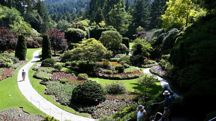 The Butchart Gardens in Victoria on Vancouver Island is a tourism favorite.