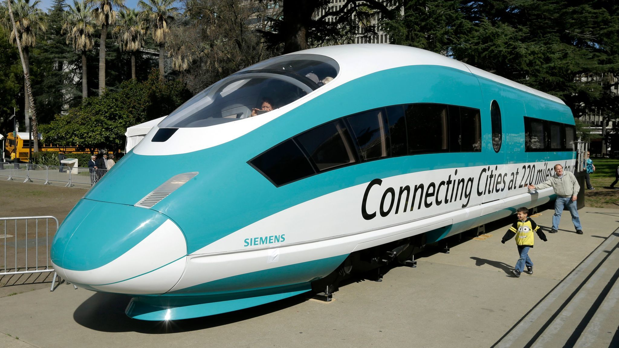 California's high-speed rail project, which would send bullet trains through the east San Fernando Valley, has been controversial in Council District 7. Above, a full-size mockup of a bullet train.