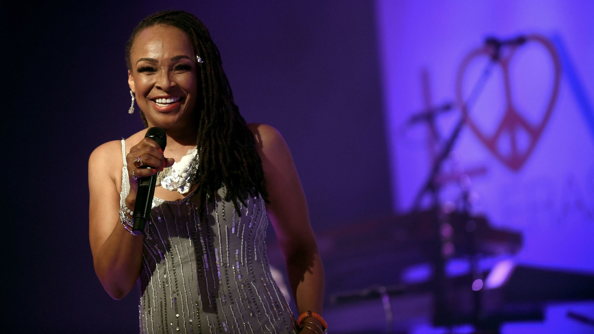 Siedah Garrett performs at the Race to Erase MS Gala at the Beverly Hilton.