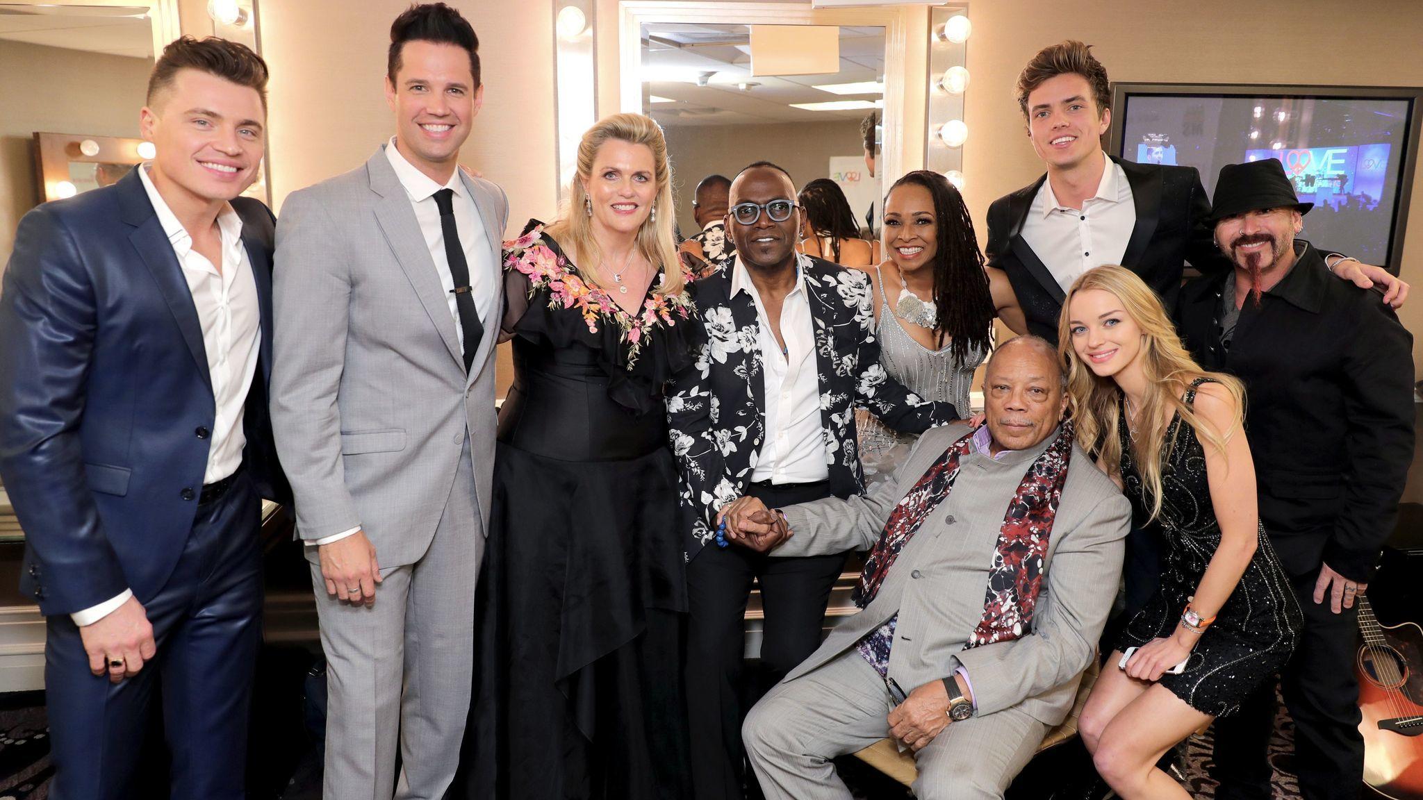 "From left, Shawn Hook, David Osmond, Nancy Davis, Randy Jackson, Siedah Garrett, Quincy Jones, Trevis Brendmoe, Lizzy Greene and Michael ""Fish"" Herring."