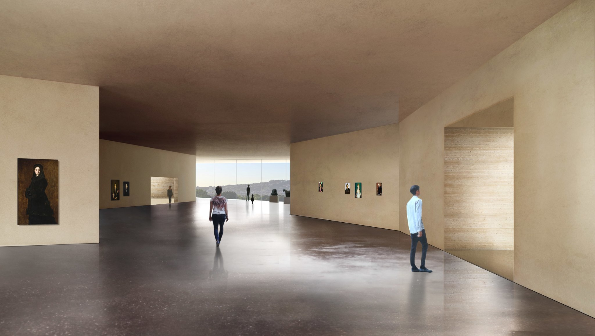 "Wide corridors for art display between exhibition rooms are being called ""meander galleries."""