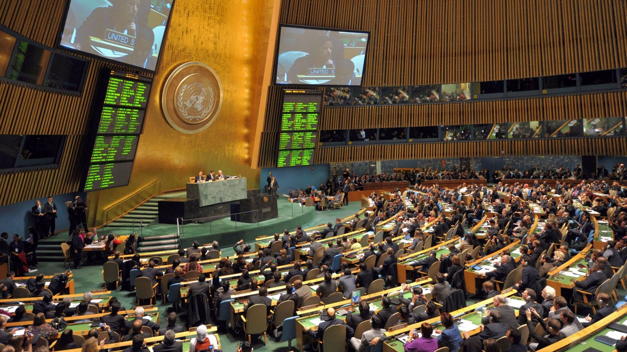 The United Nations General Assembly is shown on Nov. 29, 2012, at U.N. headquarters in New York.
