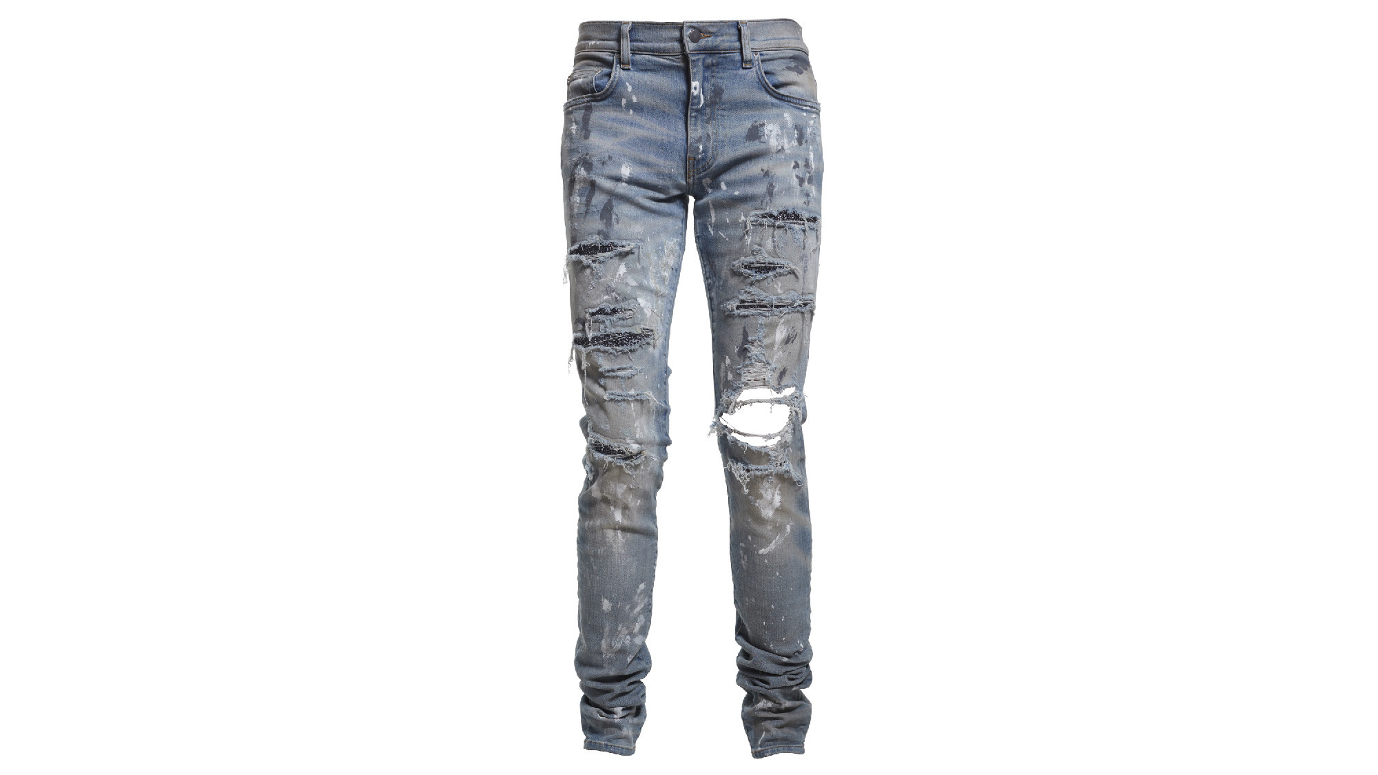 A look at distressed men's jeans with Swarovski crystals from Amiri.