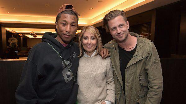 Pharrell Williams, left, Stacey Snider and Ryan Tedder.