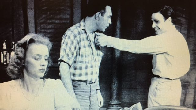 """Jessica Tandy as Blanche DuBois in the 1947 Broadway production of """"A Streetcar Named Desire,"""" with Steve Hubbel and Marlon Brando."""