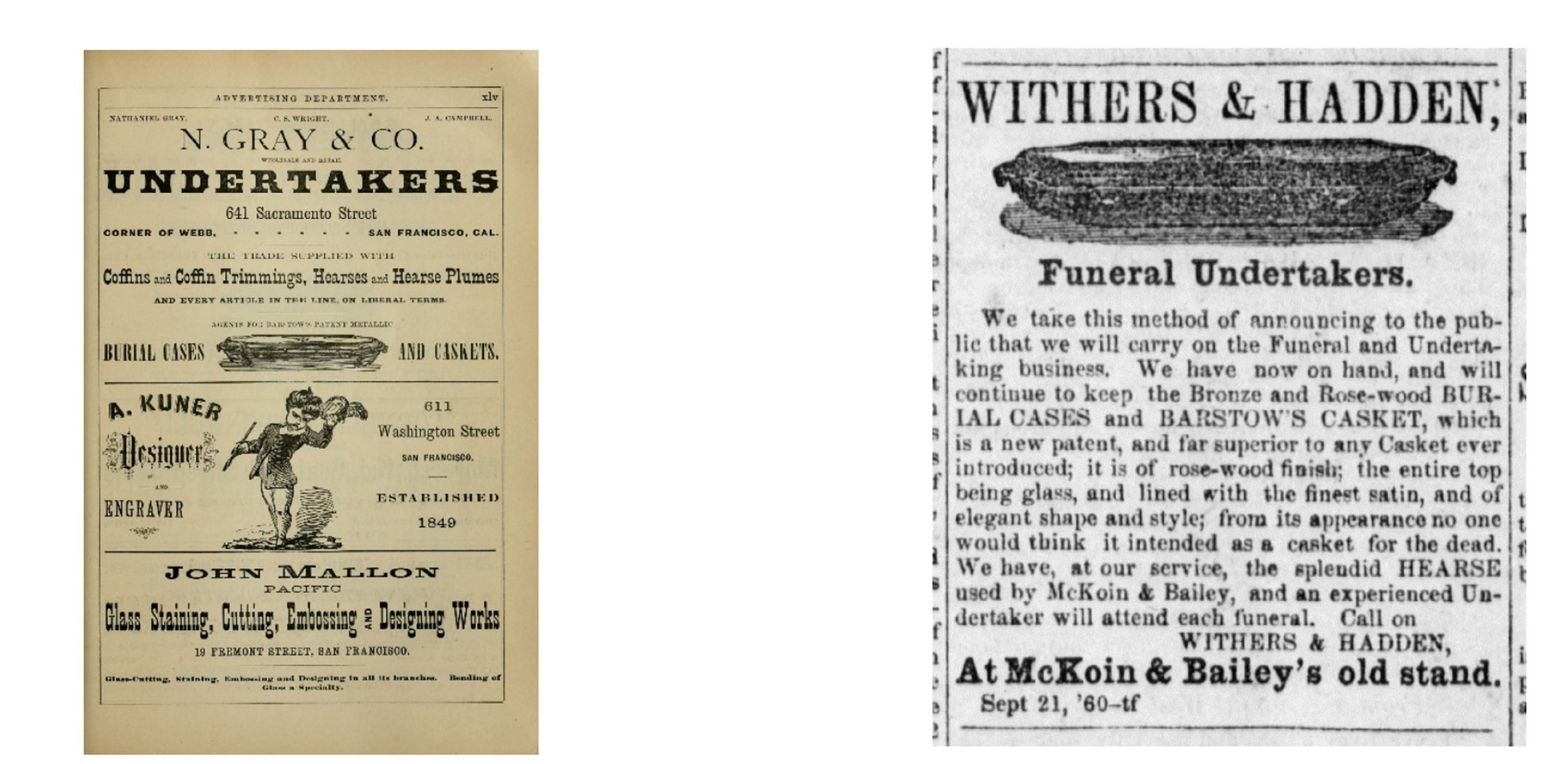 Undertaker advertisements from the late 19th century.