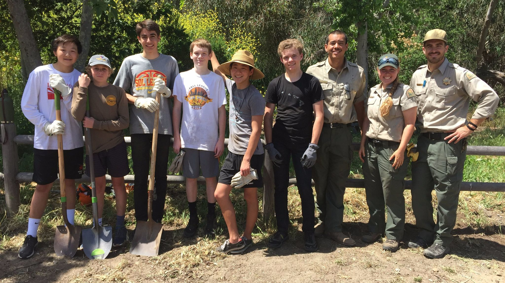 Eagle Scout workers Dash Tsai, Rocco Cappetta, R.J. Faltinsky, James Roesser, Noah Lin, John Flaming with San Elijo Lagoon Ranger Beau Devereux, Ranger Alison Lee and Ranger Marshall Gorham.