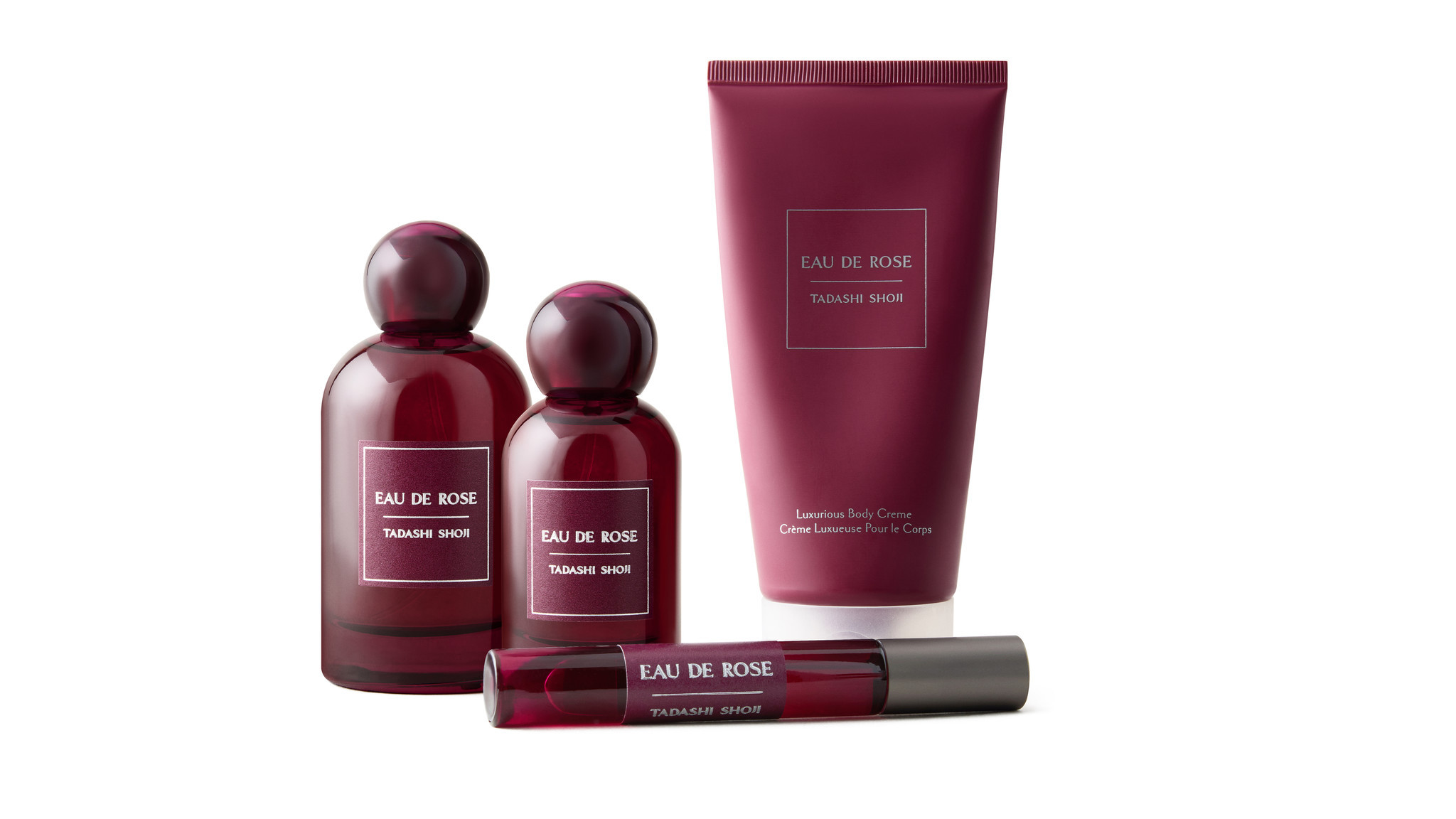 Tadashi Shoji recently introduced a signature Eau de Rose parfum, $135 for 3.4 oz., $110 for 1.7 oz., $27 for .34 oz. rollerball and $55 for 5.1 oz. body creme. The beauty products are available at tadashishoji.com.
