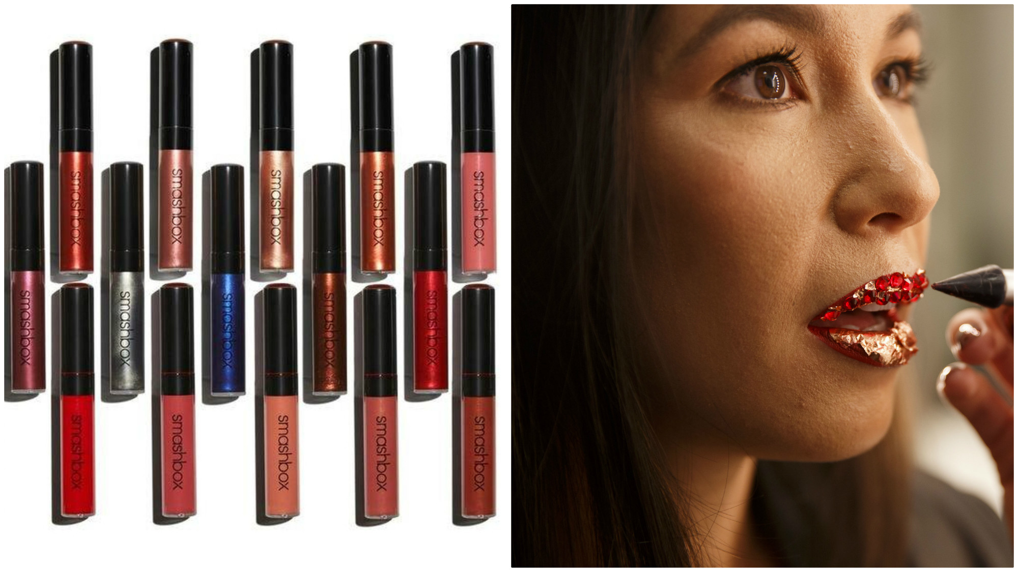 A look at Smashbox x Vlada Haggerty's Be Legendary Liquid Lip collection. At right, model Marlo Messer receives red jeweled and gold flex lip art by makeup artist Vlada Haggerty.
