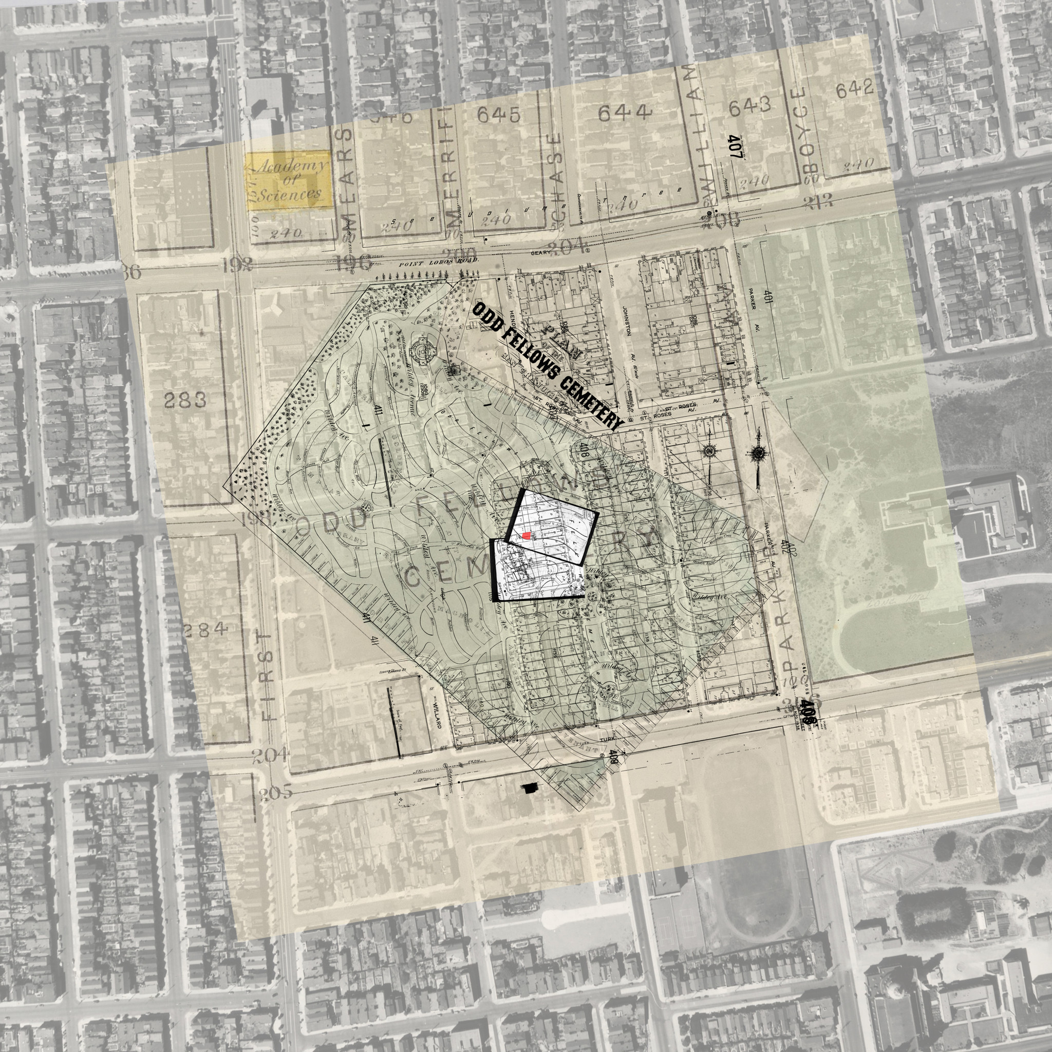 Researchers created a digital overlay of a half-dozen historical maps of Odd Fellows Cemetery, including original cemetery drawings and plans, to place on top of the neighborhood where Edith Cook was found. The work whittled down the potential identities of the girl.