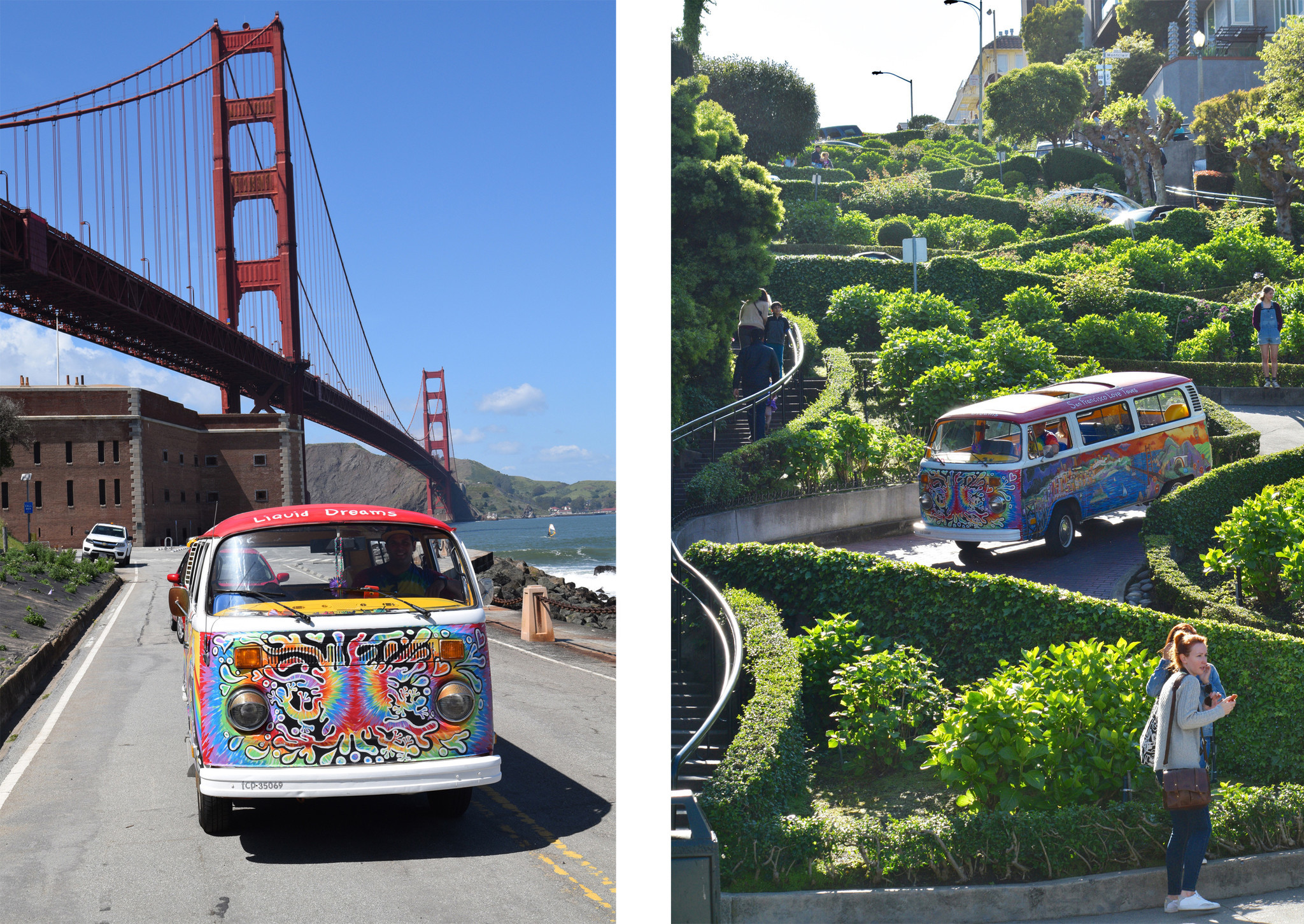 The brilliantly painted VW van of San Francisco Love Tours makes a stop at the Golden Gate Bridge, left, and makes its way down iconic Lombard Street, right. The tour, run by Allan Graves, covers locales important to the Summer of Love.
