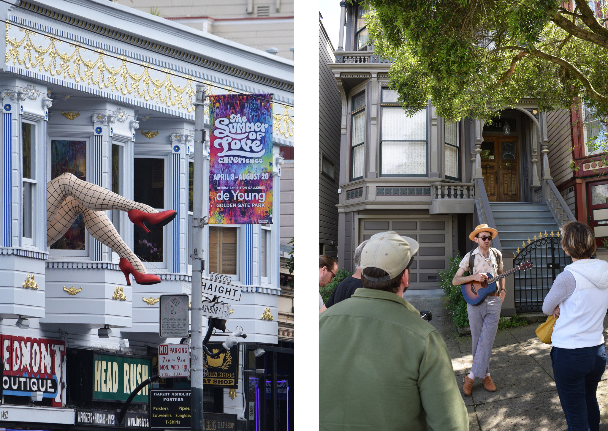 Stockinged legs, left, hang out the window of the Piedmont Boutique on Haight Street. Wes Leslie, right center, of Wild SF Walking Tours, stands in front of the former home of the Grateful Dead.