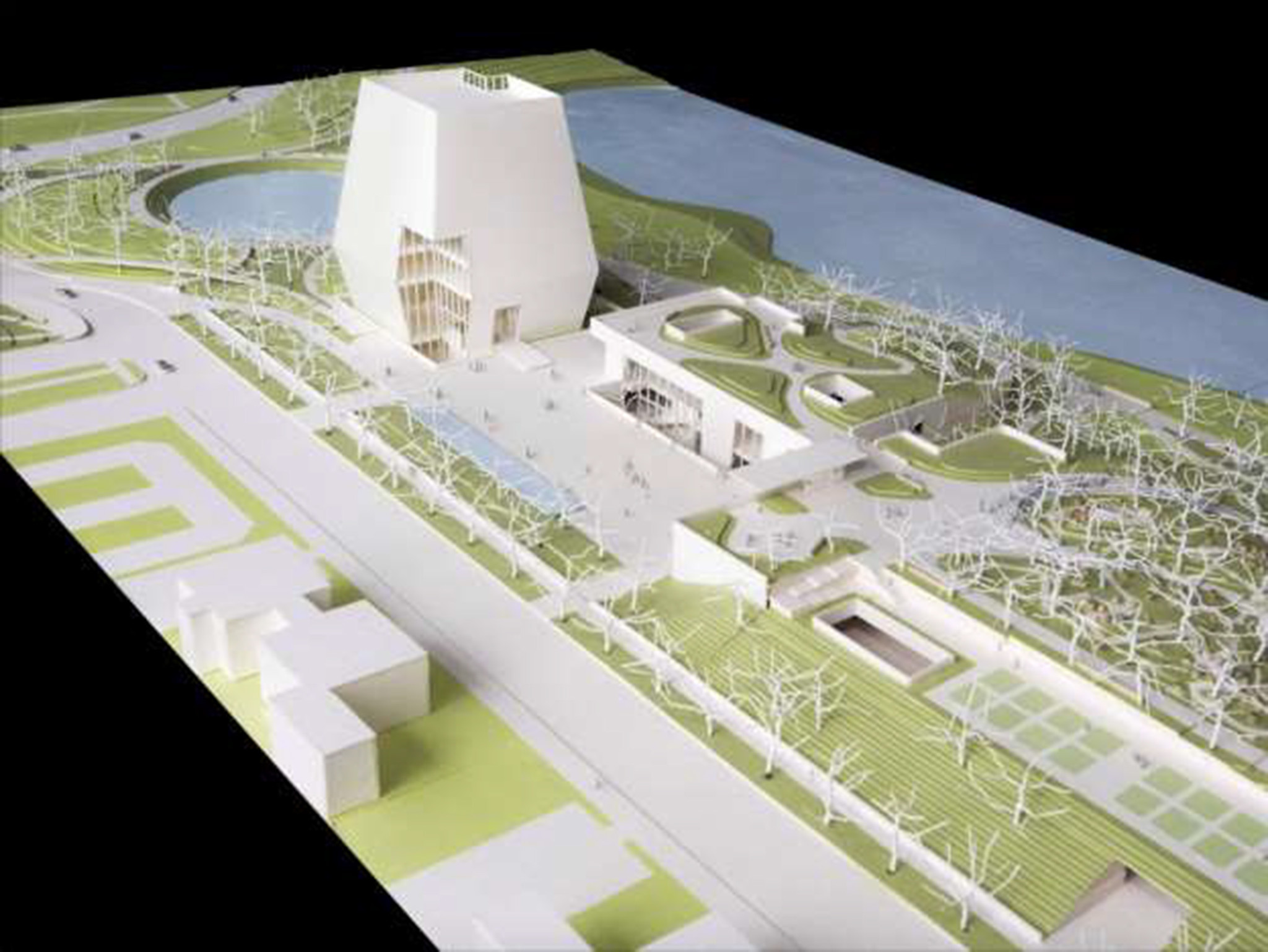 Looking north, a model showing the Obama Presidential Center.