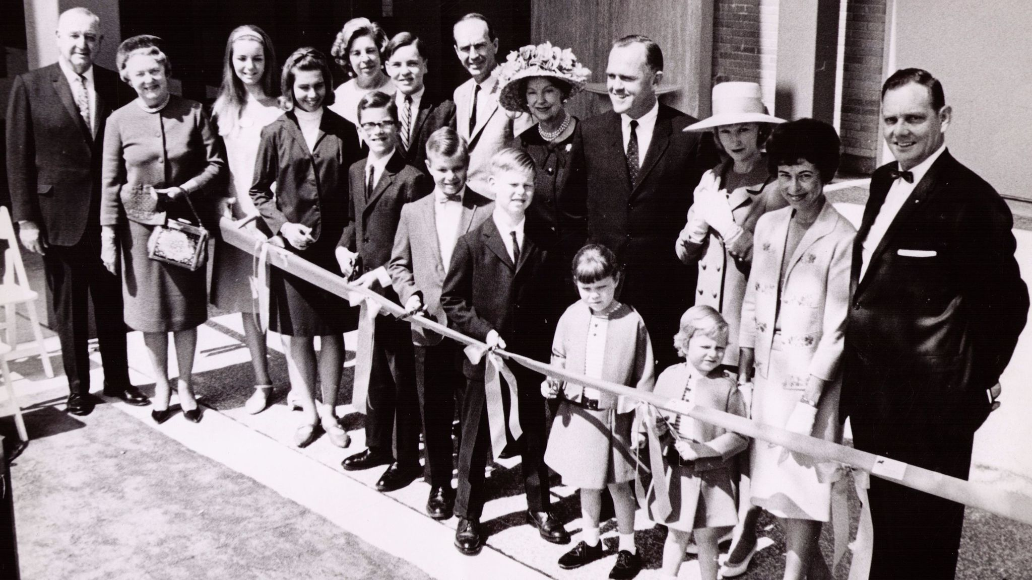 The March 15, 1967, ribbon-cutting that officially opened South Coast Plaza in Costa Mesa with members of the Segerstrom family on hand.