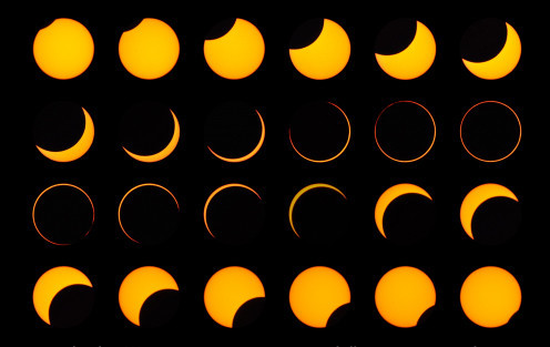 A composite image of the annular solar eclipse as seen from Argentine Patagonia on Feb. 26.