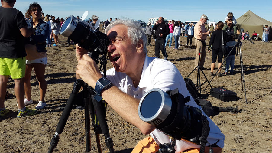 Williams College astronomer Jay Pasachoff prepares for a solar eclipse in Argentine Patagonia in February. He plans to observe this summer's total eclipse from western Oregon.