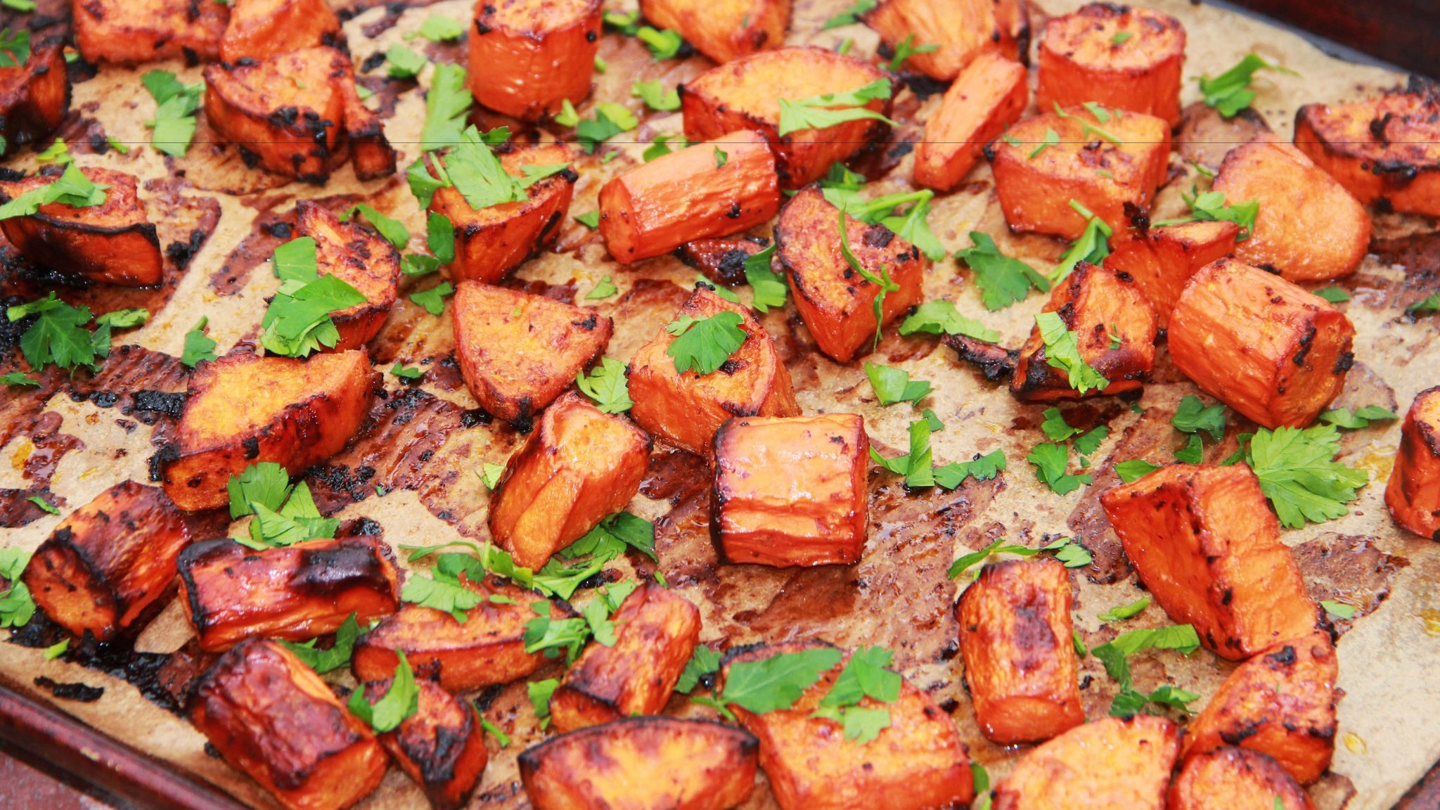 Roasted sweet potatoes and carrots.